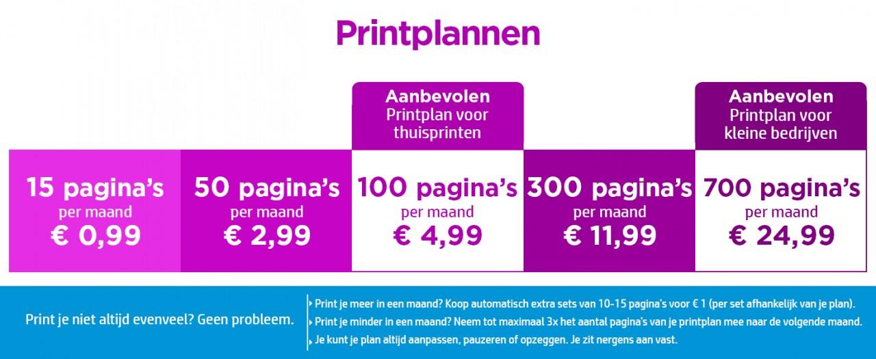 Printplannen HP Instant Ink